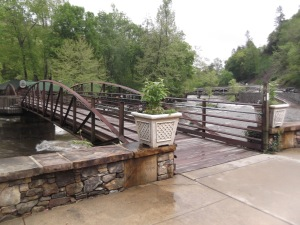 The footbridge at the Nantahala Outdoor Center in NC (also part of the Appalachian Trail. Note the blaze on the right.)